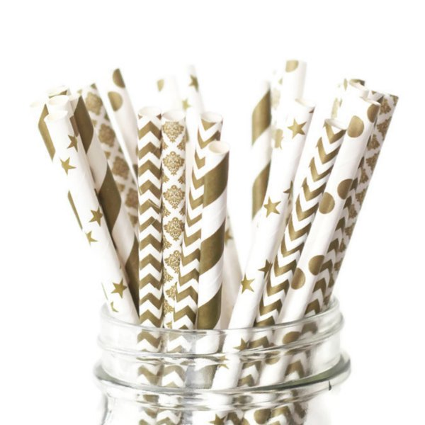 25pk of Gold Patterned Paper Straws