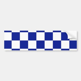 Royal Blue and White Checkered Pattern Bumper Sticker