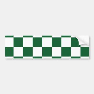 Checkered Green and White Bumper Sticker