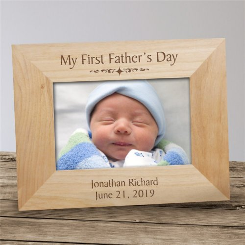 First Fathers Day Engraved Wooden Picture Frame
