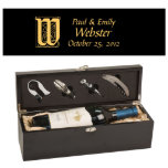 """Initial Monogram Personalized Matte Black Wine Box<br><div class=""""desc"""">Smooth, matte black finish, combined with crisp laser engraving in silver. Add a bottle of wine, and you've got an elegant gift that will be remembered for years! Personalized Wine Boxes are a great way to gift an amazing bottle of wine! The personalized wine boxes include tools and a velvet...</div>"""