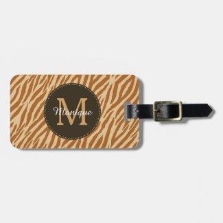 Stylish Tawny Brown Zebra Print Monogram and Name Luggage Tag