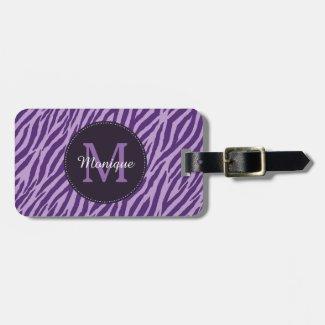 Stylish Purple Zebra Print With Monogram and Name Bag Tag