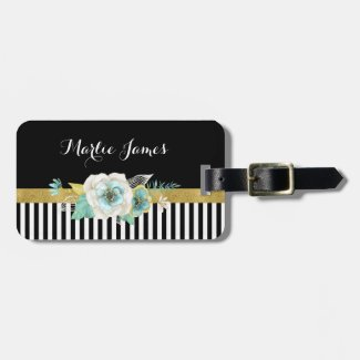Chic Gold Mint Flowers With Black Stripes and Name Bag Tag