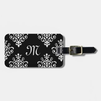 Elegant Monogrammed Black and White Damask Pattern Bag Tag