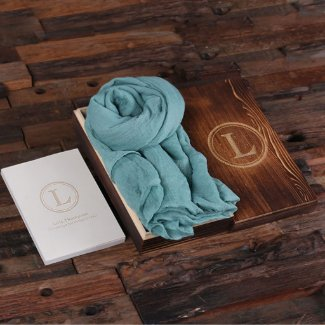 Gift Set with Journal, Wooden Box & Aqua Shawl