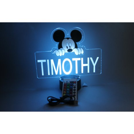 Mickey Night Light Up Table Lamp LED Personalized