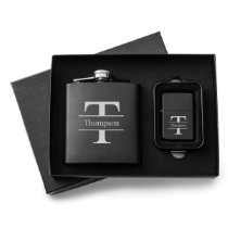 Black Stamped Monogram Lighter Set and Steel Flask