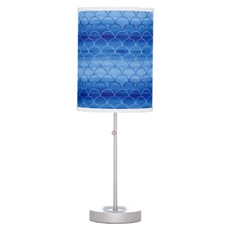 Ethereal Painted Blue Scale Pattern Desk Lamp
