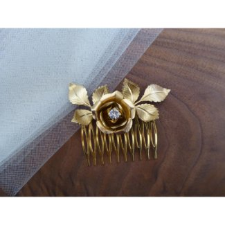 Gold Rose Bridal Hair Comb