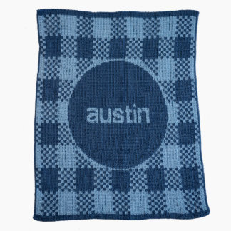 Personalized Pale & Country Blue, Gingham Blanket