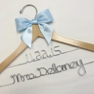 Personalized Wedding Double Line Wood Hanger