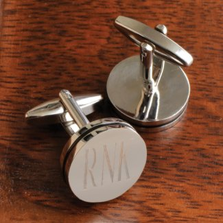 Personalized Monogram Cufflinks - Pin Stripe