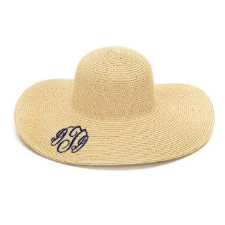 Natural/Tan Floppy Beach Hat w/Navy Blue Monogram