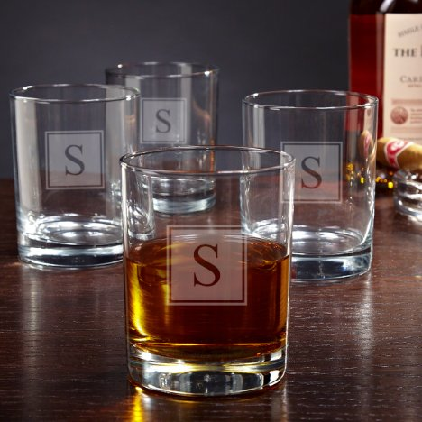 Set of 4 Block Monogram Eastham Whiskey Glasses
