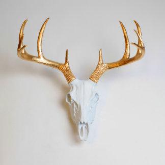 Gold Antlers on White Faux Deer Skull