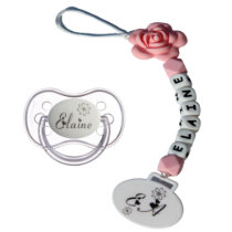 Flower, Name, and Monogram Design Pacifier and Cli