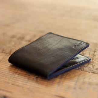 Personalized Black Leather Bifold Wallet