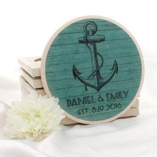 Anchor Personalized Wedding Stone Coasters