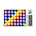 Rainbow Polka Dots on White – Medium Postage