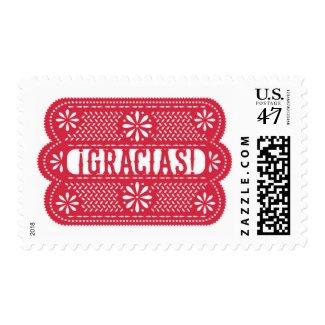 Red Papel Picado Gracias Postage Stamp