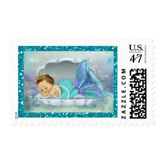Adorable Baby Mermaid Coral Reef Baby Shower #130 Postage