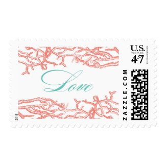 Coral Reef Love Wedding Postage Stamps
