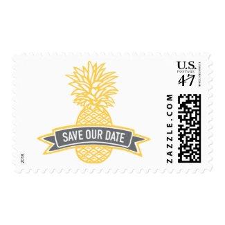 Golden Pineapple Banner Save Our Date WeddingStamp Postage Stamp