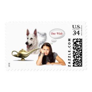 White German Shepherd - One Wish Postage Stamp