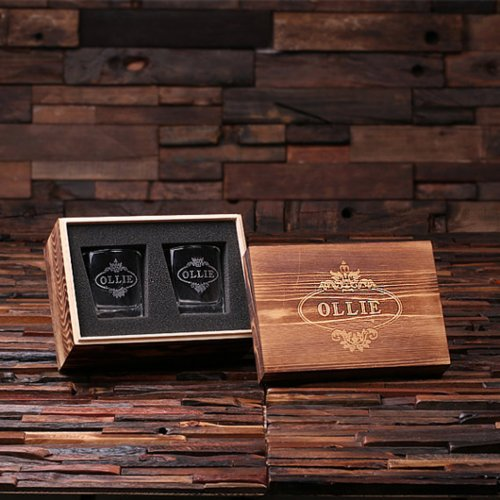 Keepsake Box & Etched Square Base Scotch Glasses