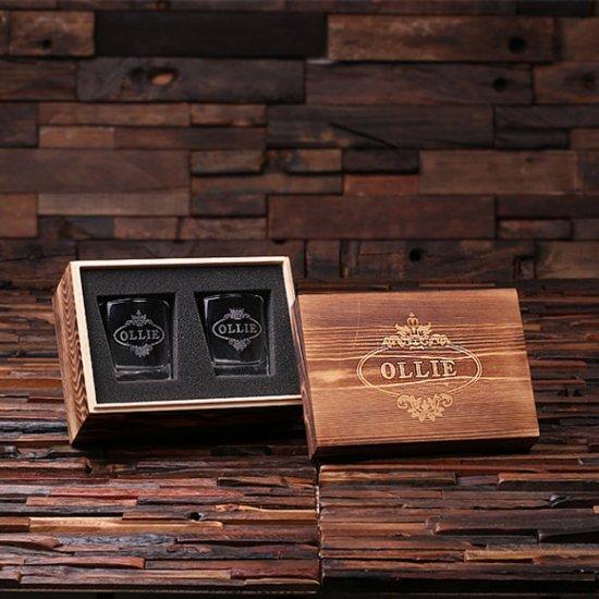 Personalized Whiskey Glass Set w/Keepsake Box