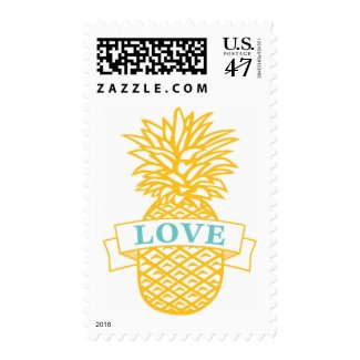 Tropical Pineapple Love Wedding Postage Stamps