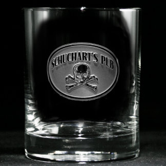 Skull and Bones Personalized Whiskey Glass