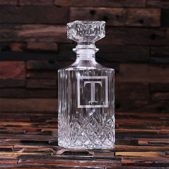 """Engraved Initial """"T"""" Decanter – Square"""