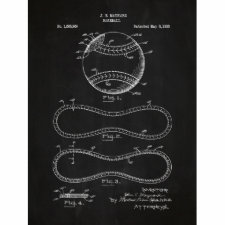 Vintage Baseball Patent Chalkboard Screen Print