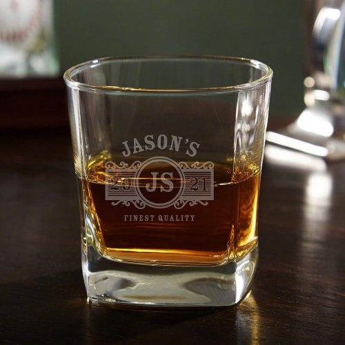 Stylish Marquee Engraved Rocks Whiskey Glass