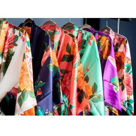Satin Watercolor Floral Bridal Party Robe