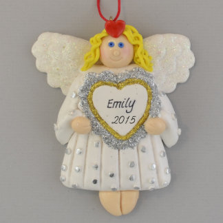 Angel with Blonde Hair holding Heart Ornament