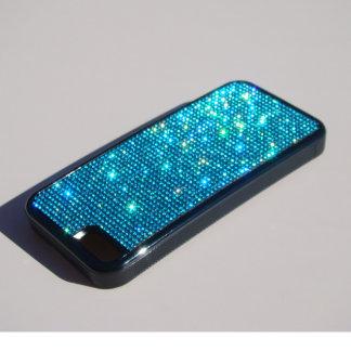 iPhone 5C Black Rubber Case w/ Aqua Crystals