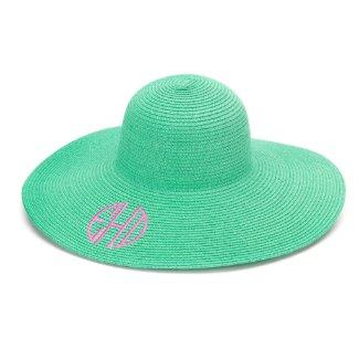 Mint Floppy Beach Hat w/Pink Monogram