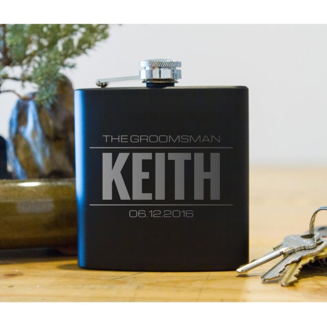 Personalized Flask Set In Wood Box Groomsmen Gifts