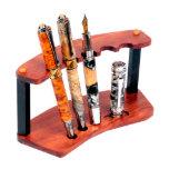 Exotic Bubinga Hardwood 5 Upright Pen Stand