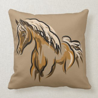 Wild Horse Throw Pillow - Cotton
