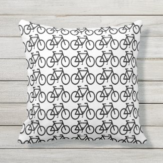 Black and White Cycling Abstract Outdoor Pillow