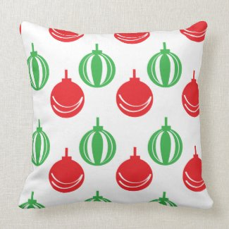 Red and Green Christmas Ornaments Throw Pillow