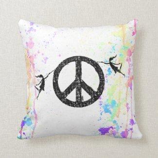 Art Fairy: Peace Sign Watercolor Pillow