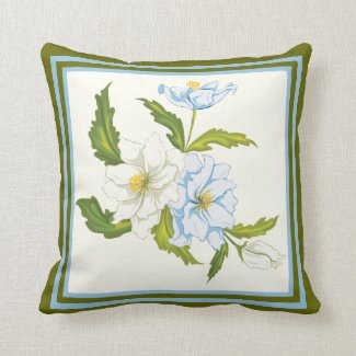 Elegant bouquet of light blue and white flowers throw pillow