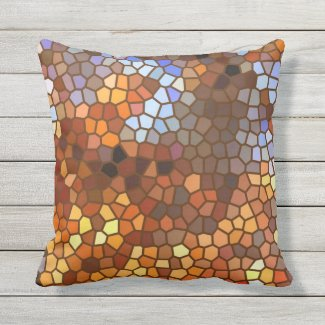 Brown Orange Autumn Mosaic Abstract Outdoor Pillow