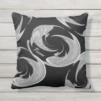 Abstract Silver Pisces Zodiac Throw Pillow