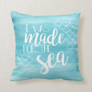 Made For The Sea Watercolor Accent Pillow